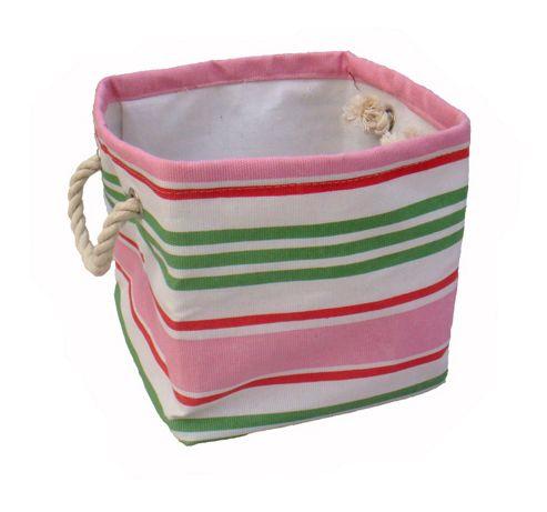 Wicker Valley Small Square Soft Storage in Pink Stripe