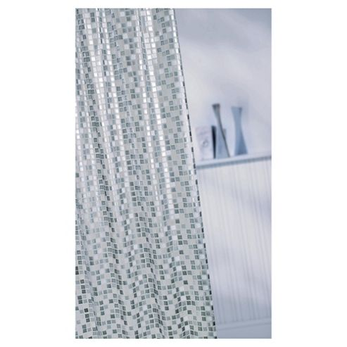 Croydex Vinyl Shower Curtain Mosaic Silver