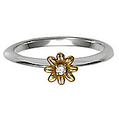 Sterling Silver Stacking Ring with Gold Plated Floeer Detail, Medium