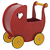 Moover Wooden Dolls Pram Red