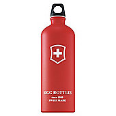 SIGG Swiss Cross Red Touch Classic Aluminium Drinking Water Bottle, 1L