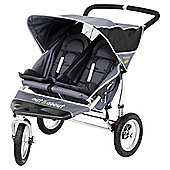 Out 'n' About Nipper Double 360, 3 wheeler Pushchair, Charcoal