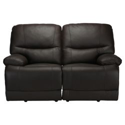 Angelo Leather Small Double Recliner Sofa, Chocolate