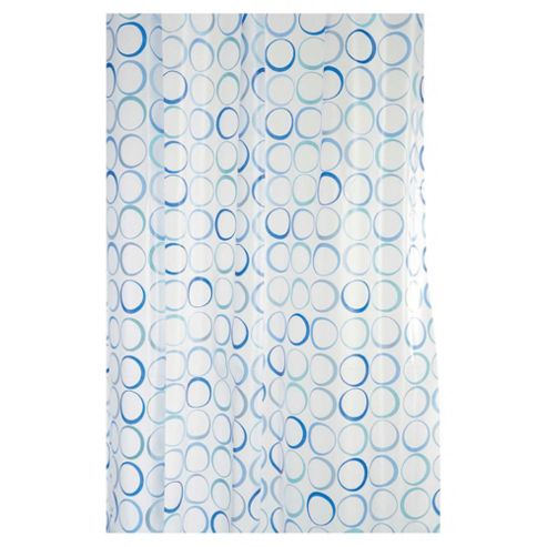 Croydex Shower Curtain Blue Rings