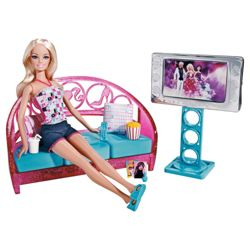 Barbie Doll & Furniture Living Room Playset