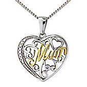 "Silver and 9ct Gold Cubic Zirconia Pendant with Chain Message - ""Mum"""