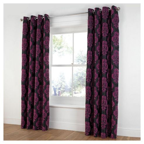 Tesco Flock Damask Lined Eyelet Curtains W163xL229cm (64x90