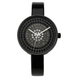 Oasis Stone Set Dial Wacth with black patent strap