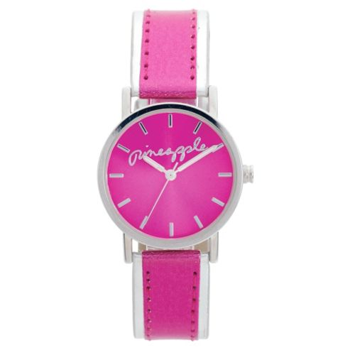 Ladies Pink Analogue Metallic Strap Watch