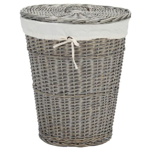 Tesco Wicker Laundry Basket, Grey