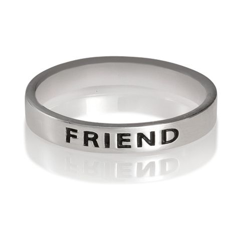 Sterling Silver Friend Stacking Ring, Small