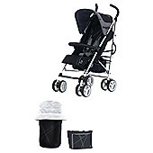 Petite Star Zukoo Pushchair,  Footmuff & Change Bag,  Raven Black