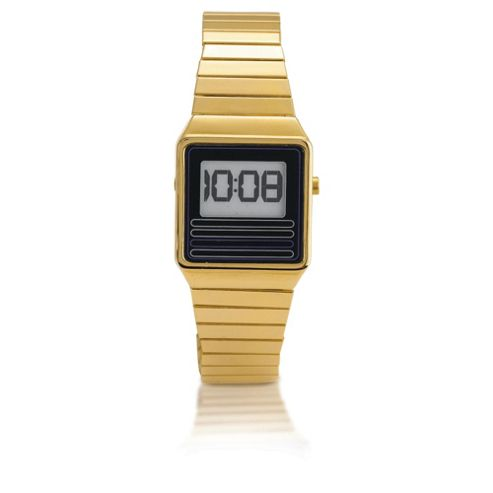 Gold Retro Digital Stretch Watch