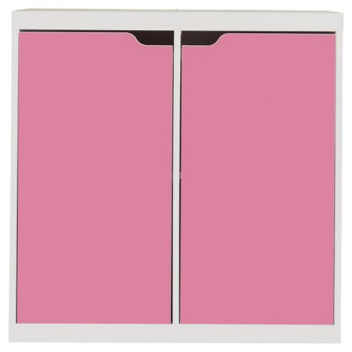 Seattle Kids 2 Door Storage Unit, White & Pink