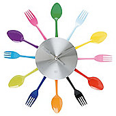 Present Time Wall Clock Silverware Utensils Steel multi colour