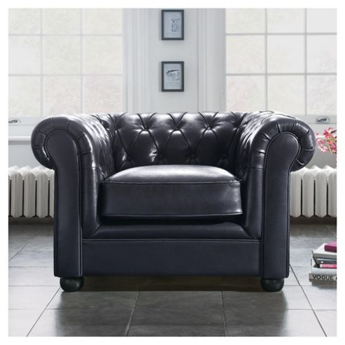 Chesterfield Leather Armchair, Black