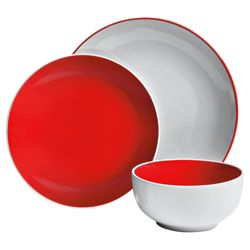 Tesco Two Tone 12 Piece, 4 Person Dinner Set - Red.