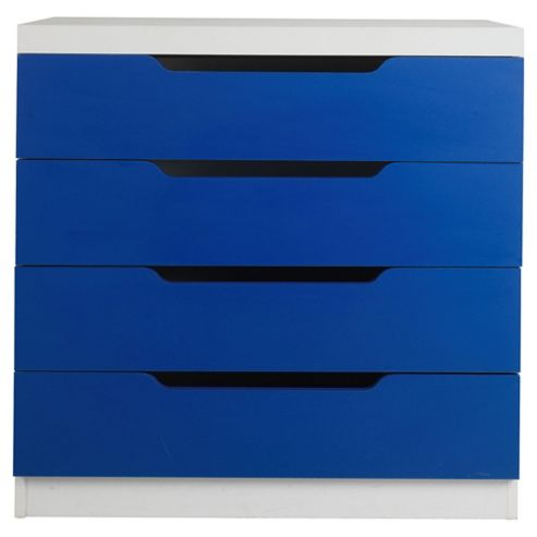 Seattle Kids 4 Drawer Chest, White & Blue