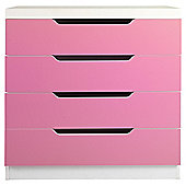 Seattle Kids 4 Drawer Chest, White & Pink