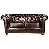 Chesterfield Small Leather Sofa, Brown