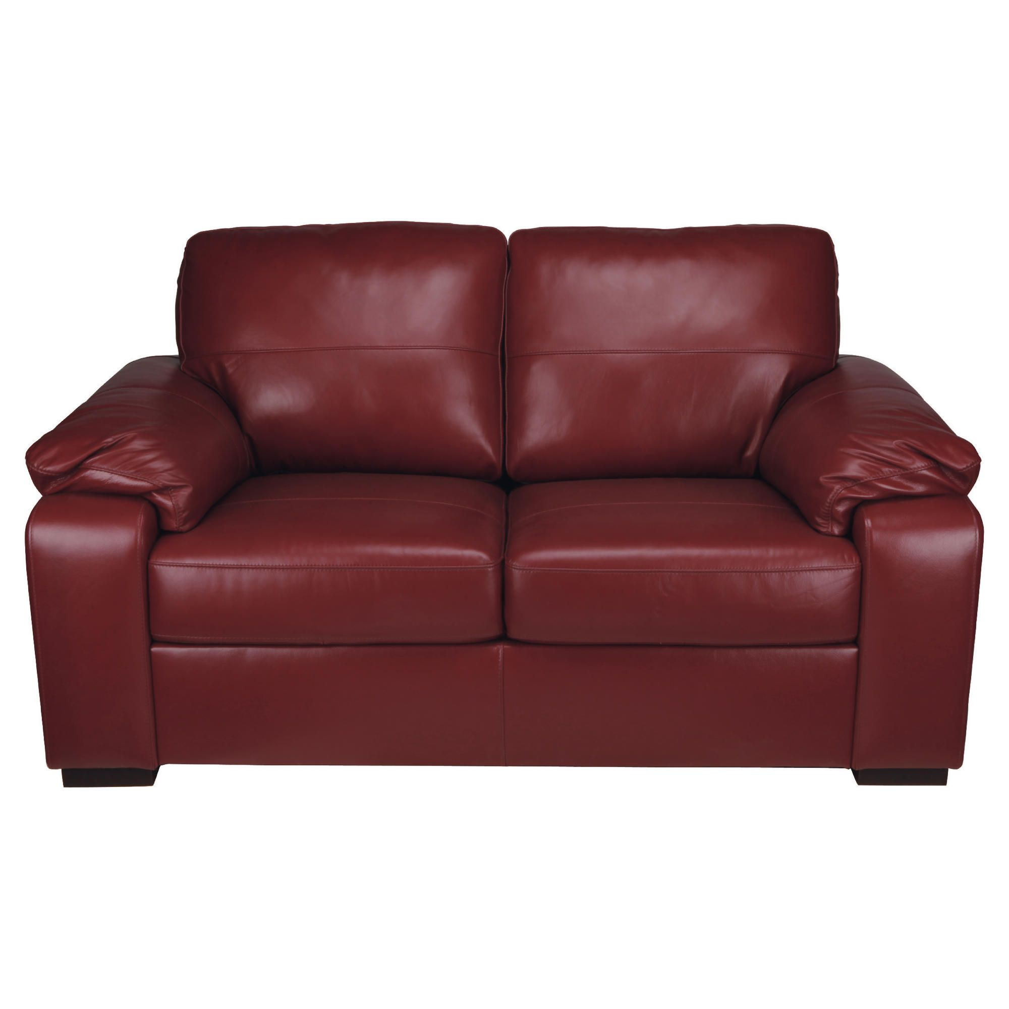 Ashmore Small Leather Sofa, Red at Tesco Direct