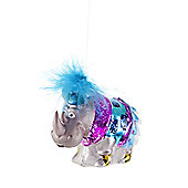 Showgirl Rhino Christmas Tree Glass Bauble Decoration