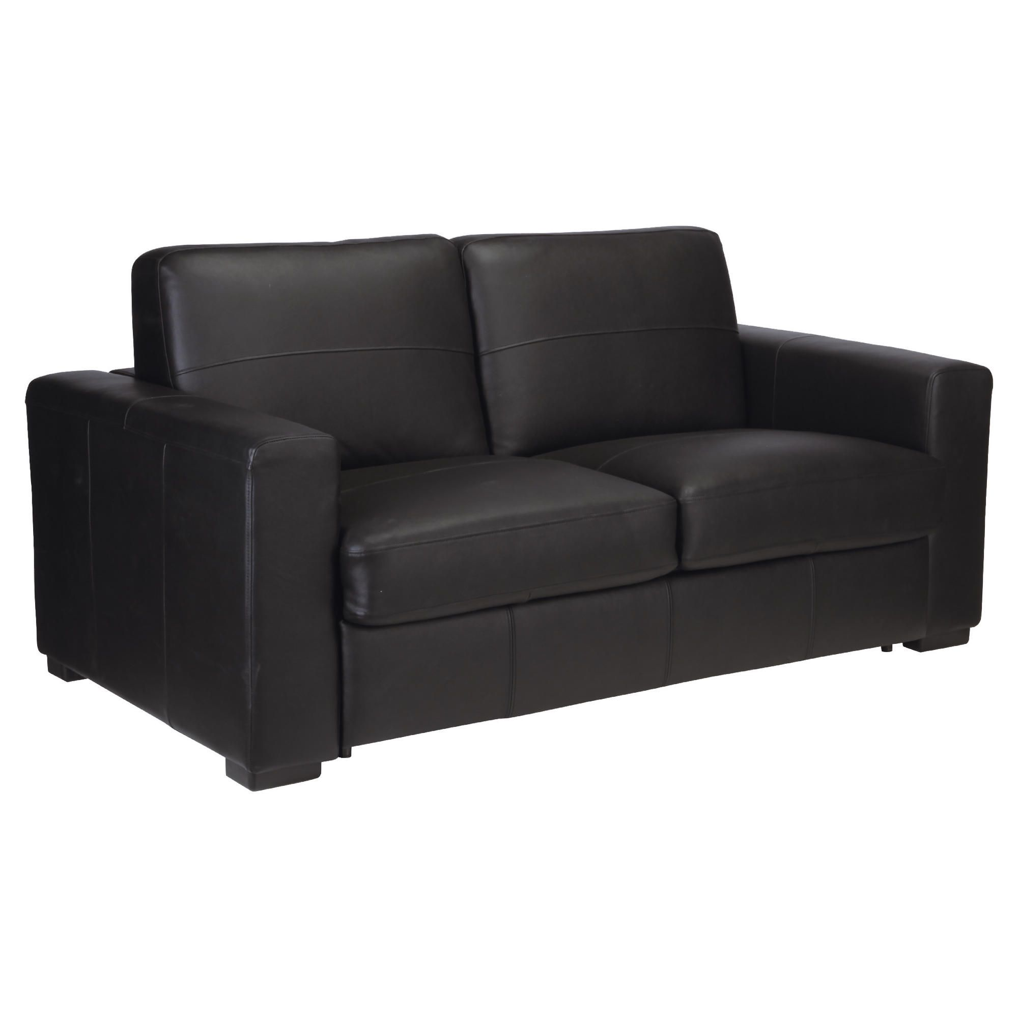 Venice Leather Sofa Bed Black at Tesco Direct