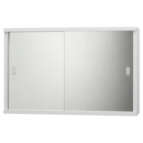 Buy Tesco Double Sliding Mirror Door White Cabinet From Our Bathroom Wall Cab