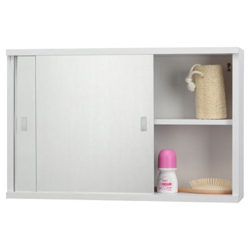 buy tesco double sliding mirror door white cabinet from