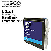 Tesco LC1000 Cyan Printer Ink Cartridge (Compatible with printers using Brother LC-1000 Cyan Printer Ink Cartridges)