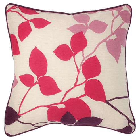 buy tesco set of 2 bold leaf cushion covers plum from our. Black Bedroom Furniture Sets. Home Design Ideas