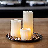 Set of 3 Wax Battery LED Candles With Round Pebble Tray