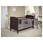Obaby Grace 4 Piece Cot Bed Set, Dark Pine Cot Bed With Pink Bedding (includes mattress, quilt & bumper)