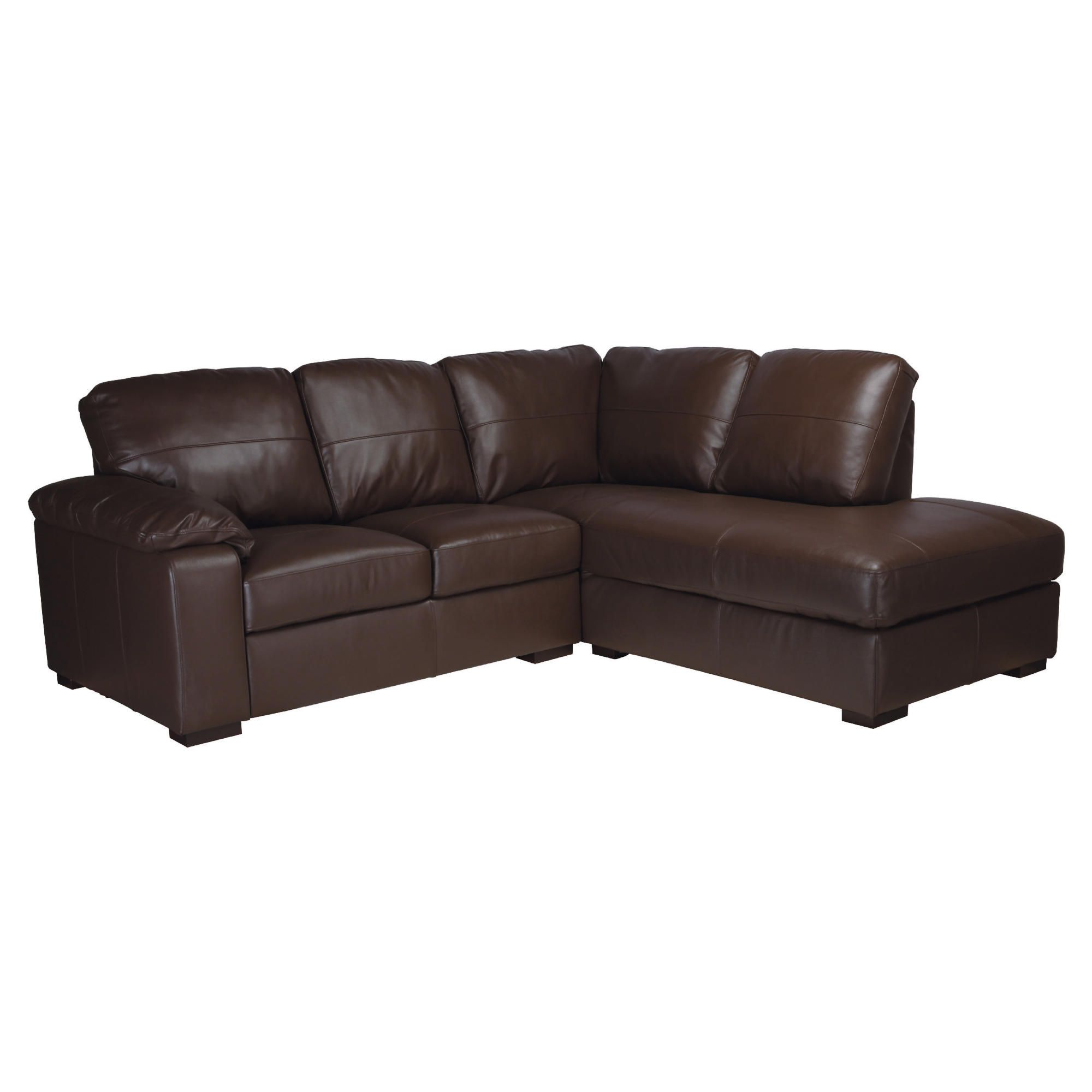Ashmore Leather Corner Sofa, Brown Right Hand Facing at Tesco Direct