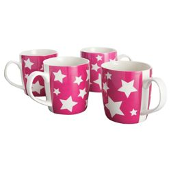 Tesco Star Set of 4 Mugs, Pink