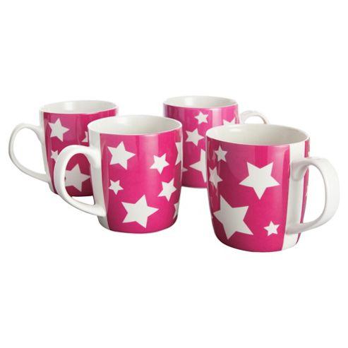 Tesco Star Set of 4 Mugs, Pink