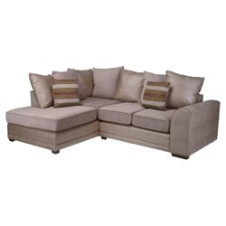 Inca Leather Effect & Fabric Corner Sofa, Natural Left Hand Facing