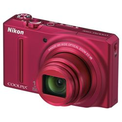 Nikon Coolpix S9100 Digital Camera (Red)