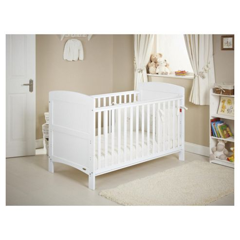 Obaby Grace 4 Piece Cot Bed Set, White Cot Bed with White Bedding (includes mattress, quilt & bumper)