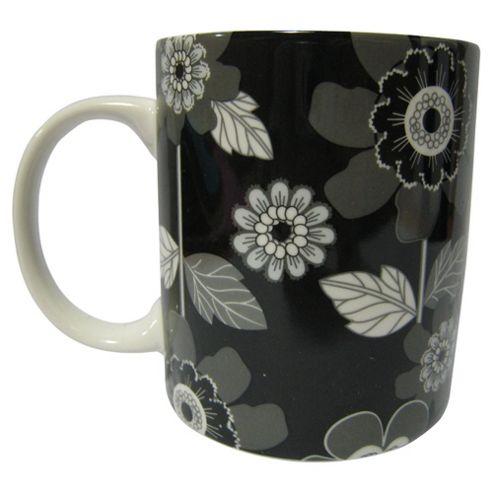 Tesco Modern Flower Set of 4 Mugs, Black