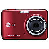 """GE C1433 Compact Digital Still Camera - Red (14MP, 3x Optical Zoom) 2.4 inch LCD"""