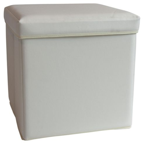 Tesco Small Leather Effect Ottoman, Cream