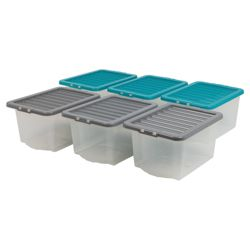 30L clearview box with lid, 6 pack teal & grey