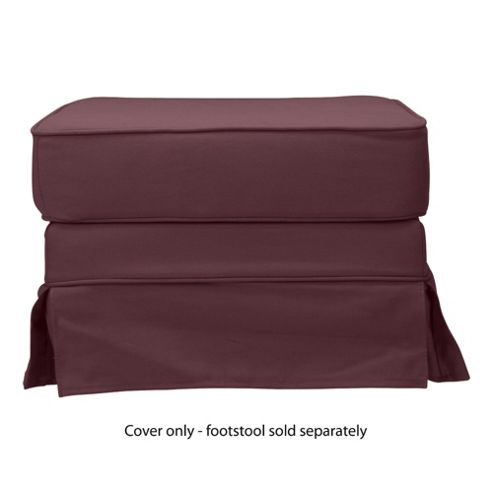 Louisa Loose Cover For Footstool, Aubergine