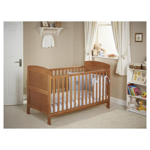 Obaby Grace 4 Piece Cot Bed Set, Country Pine Cot Bed With Blue Bedding (includes mattress, quilt & bumper)