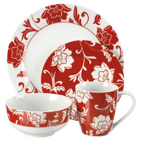 Tesco Floral 16 Piece, 4 Person Dinner Set - Red