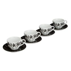 Tesco Shadow Tree Set of 4 Teacups and Saucers, White.