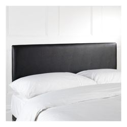 Mittal Double Faux Leather Headboard, Black