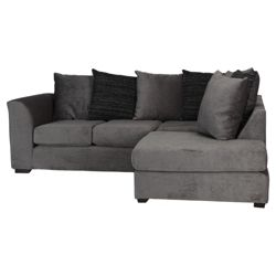 Ontario Fabric Corner Sofa, Charcoal Right Hand Facing