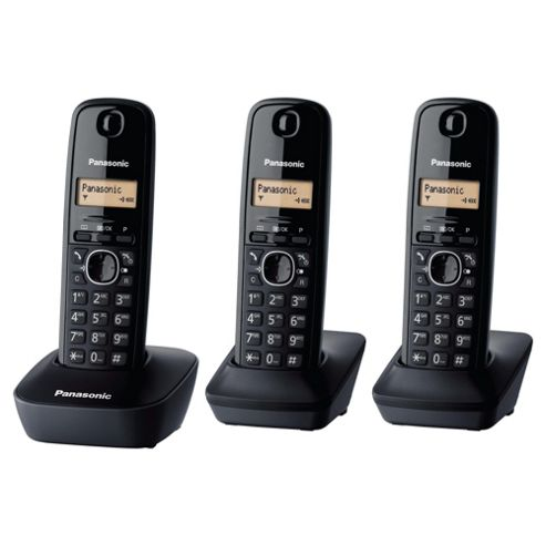 Panasonic KX-TG1613EH Triple Cordless Phone - Black